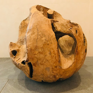 Hand-Carved Natural Wood Sphere Sculpture