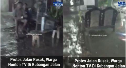 Viral Aksi Protes Jalanan Rusak, Warga Nekat Nonton TV di Kubangan Air