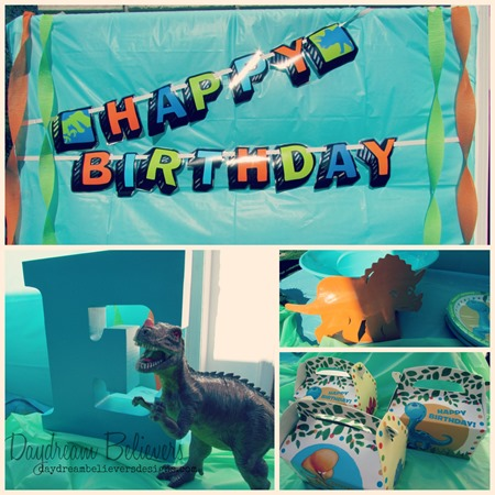 Modern Dinosaur first birthday party decorations