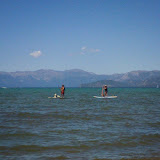 Paddle boarding with mans best friend