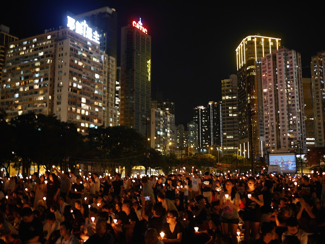 2016 vigil in Victoria Park, Hong Kong, commemorating the anniversary of the Tiananmen Square crackdown