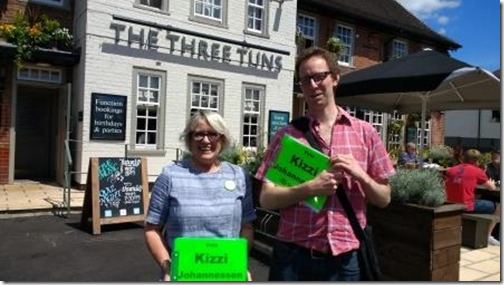 Rob and Brenda canvassing outside the three tuns s