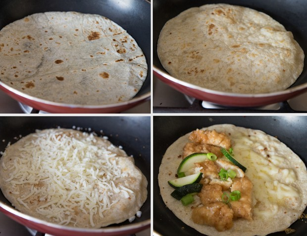 photo collage showing how to cook the quesadillas