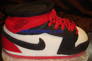 3D Nike Air Jordan red, white and black fondant custom birthday cake design picture