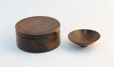 "Photo: CLIF POODRY - Lidded Box, 6"" x 2.5"" - Bowl, 4"" x 1.5"" - Pen, 5.5"" - Cocobolo (pen not shown)"