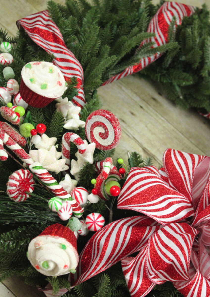 Candy picks for wreath