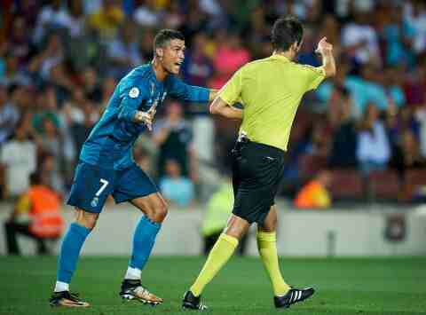 RONALDO COULD FACE LENGTHY BAN FOR SLIGHT PUSH ON REFEREE