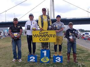 シニアの部トップ5 (左から4位平川選手、2位平山選手、優勝西岡選手、3位渡辺選手、5位川上選手