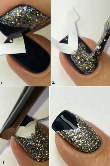Happy new year nail art tutorials 2015 2016 fashionte black nail polish silver glitter nail polish some v shaped nail strips top coat prinsesfo Choice Image