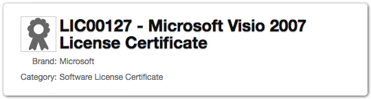 Product category - Software license certificate