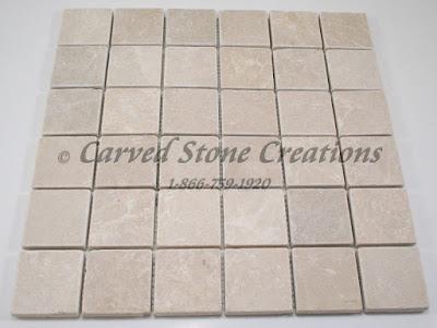 2x2 Botticina Cream Marble Tumbled Mosaic