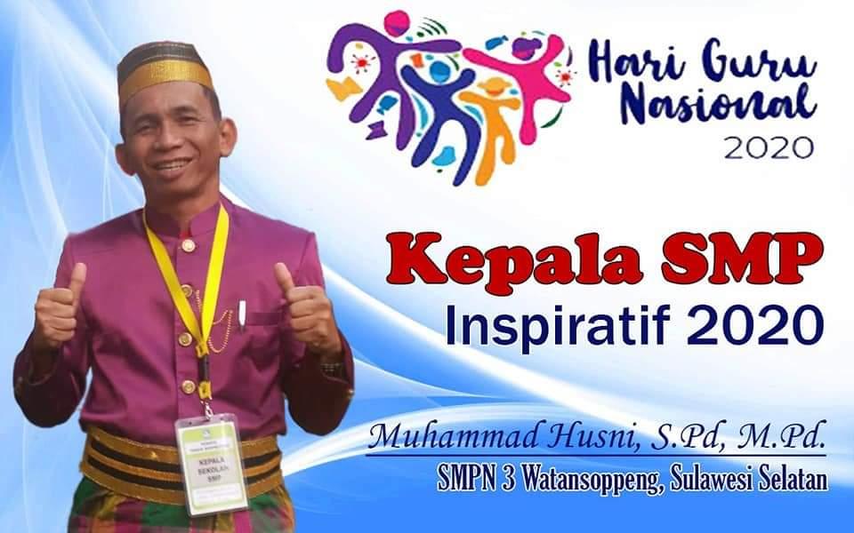 Muhammad Husni Masuk 20 Kepala SMP Inspiratif 2020 Se - Indonesia, Satu Satunya dari Sulawesi Selatan