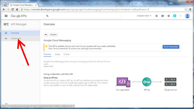 Web Push Notification Google Dev Console GCM Enabled