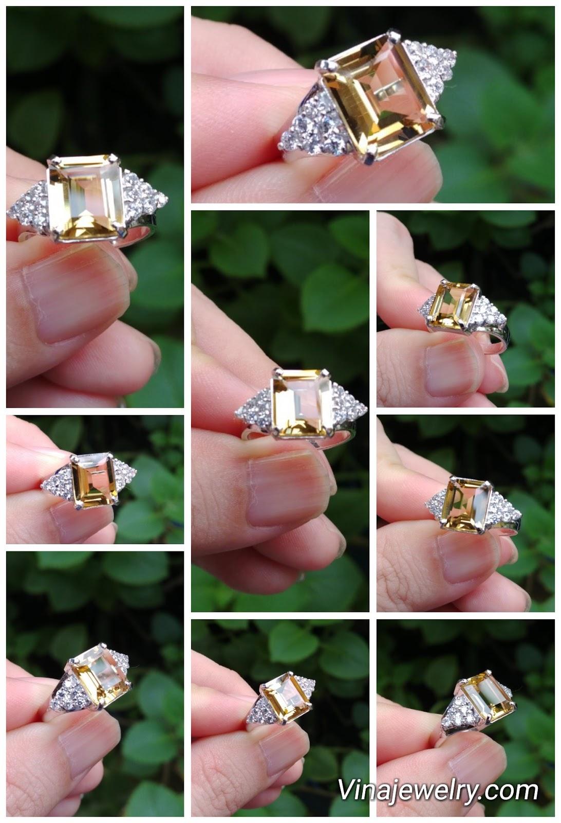 Nhẫn nữ đá Citrine thiên nhiên, vàng 18k