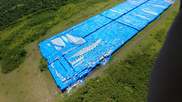 What may be millions of water bottles. meant for victims of Hurricane Maria, sitting on a runway in Ceiba, Puerto Rico since 2017, according to FEMA, which confirmed the news to journalist David Begnaud. Photo: David Begnaud