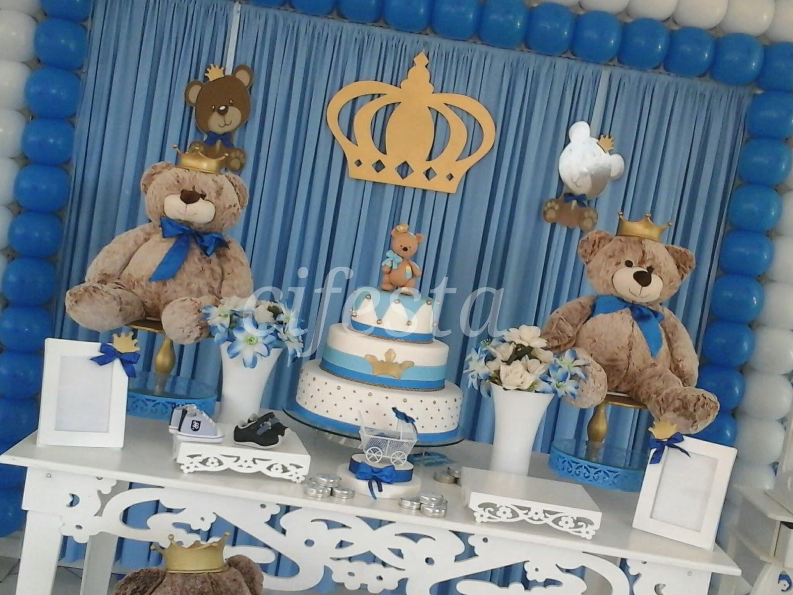Chá de beb u00ea com o tema ursinho príncipe Cifesta -> Decoração Cha De Bebe Ursinho Principe Simples