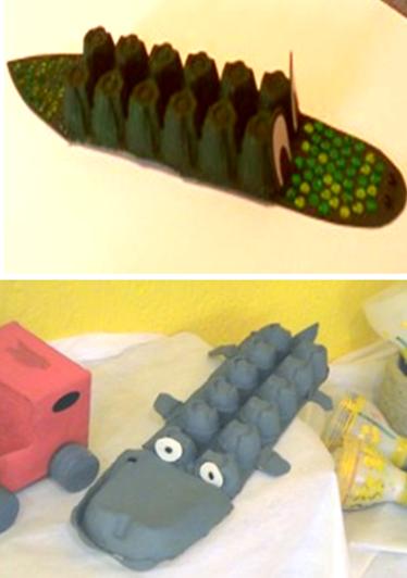 COCODRILO animales hechos con cajas de huevos