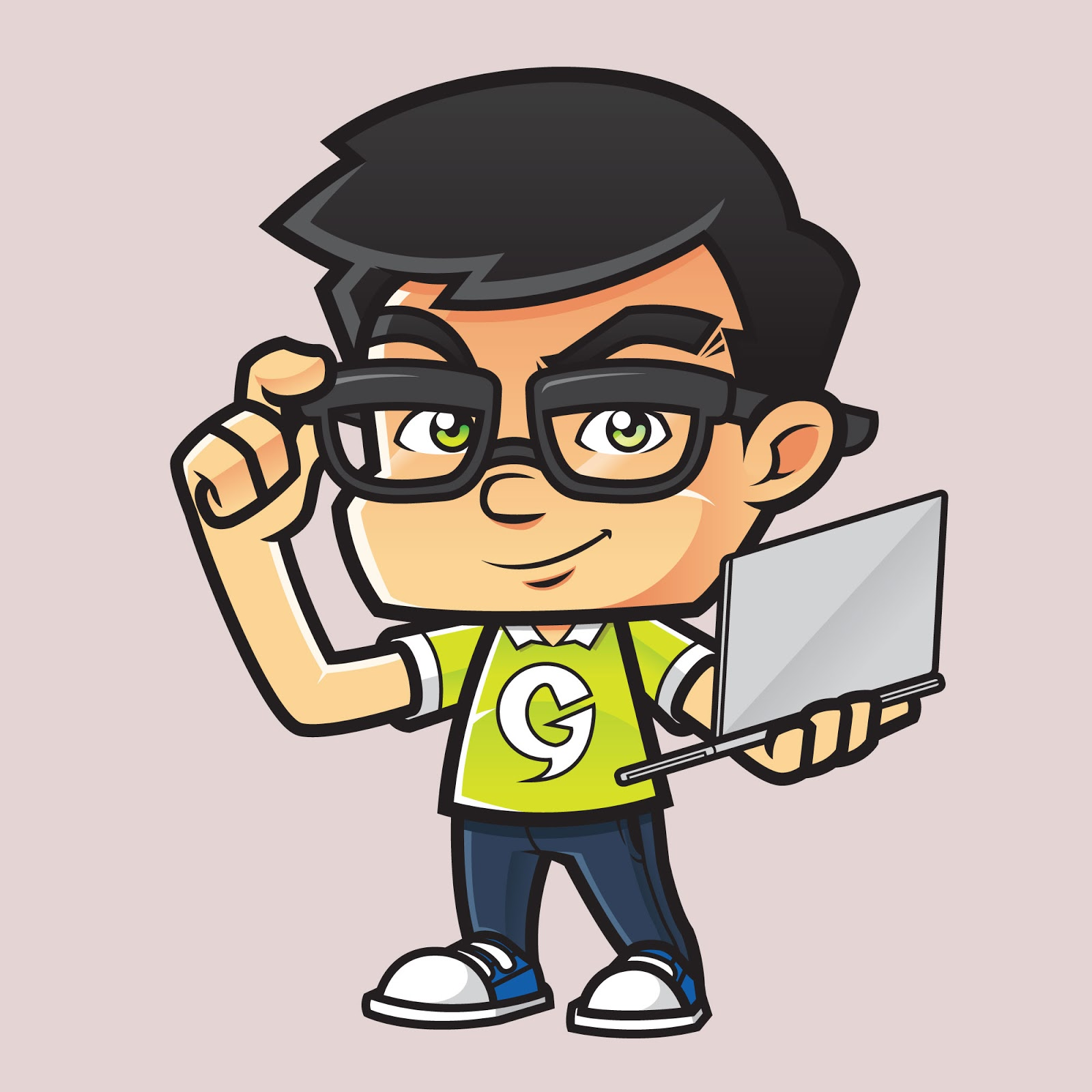 Geek With Laptop Free Download Vector CDR, AI, EPS and PNG Formats