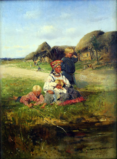 Vladimir Makovsky - Maid with children