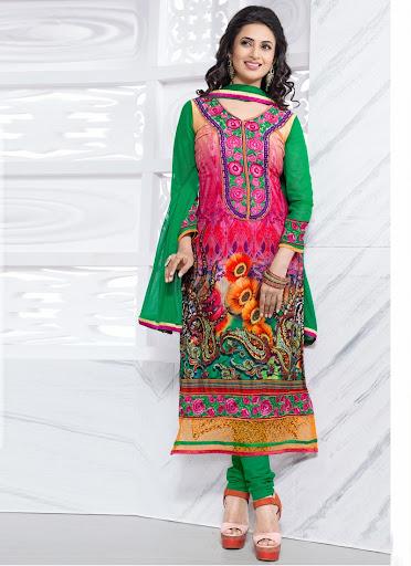 Divyanka Tripathi Pink & Green Formal Wear Printed Salwar ...