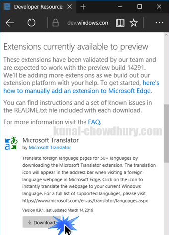 Windows 10 - Microsoft Edge - Download Extensions Page (www.kunal-chowdhury.com)