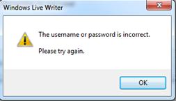 ไม่สามารถล็อกอิน Windows live writer