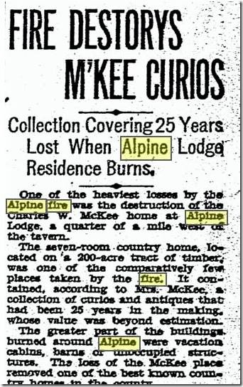 alpine fire collection lost 1929