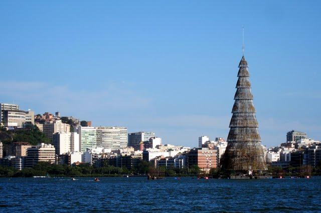 Floating Christmas tree in Rio de Janeiro Brazil