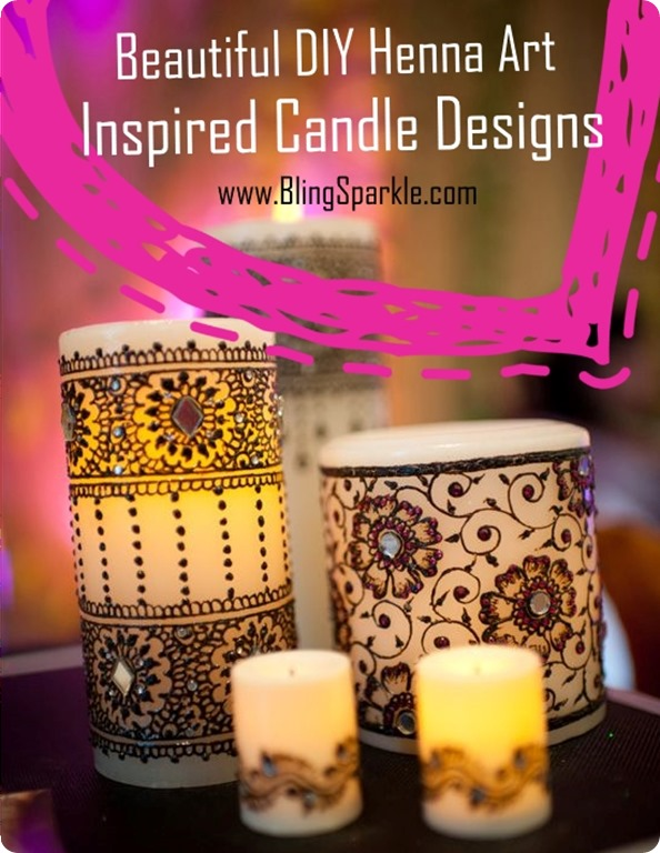 Beautiful DIY Henna Art inspired Candle Designs