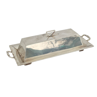 Sterling Silver  & Glass Butter Dish