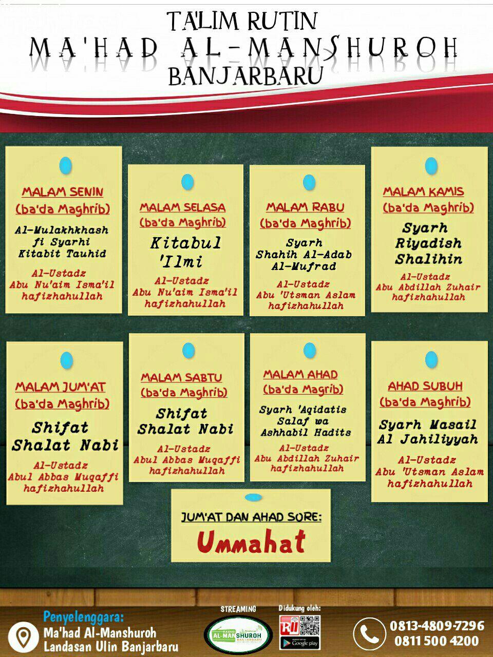 Informasi Jadwal Kajian Sunnah di Banjarbaru