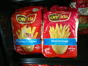 Photo: There were lots of choices of fries. I wasn't sure which ones to get so I had my friend's daughter help me decide. We narrowed it down to Ore-Ida Golden Crinkles, Zesty Twirls and Extra Crispy Golden Crinkles.