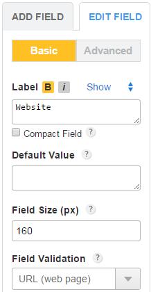 Website URL form field