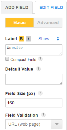 Website URL form field