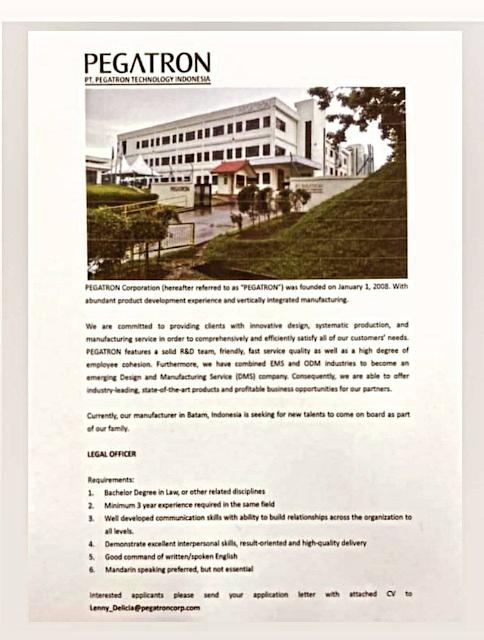 PT Pegatron Technology Indonesia Membuka Loker Legal Officer