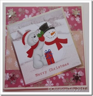 Teddy bear and snowman card