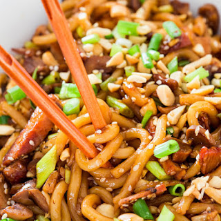 Asian Style Udon Noodles with Pork and Mushrooms.