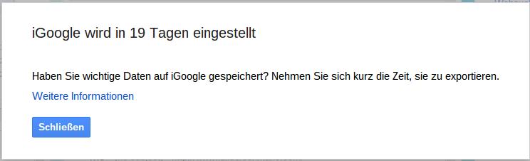 iGoogle Einstellung