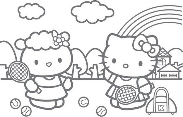 Hello Kitty Tennis Coloring Pages
