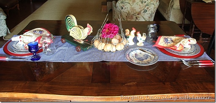 Red white and blue table-Bargain Decorating with Laurie