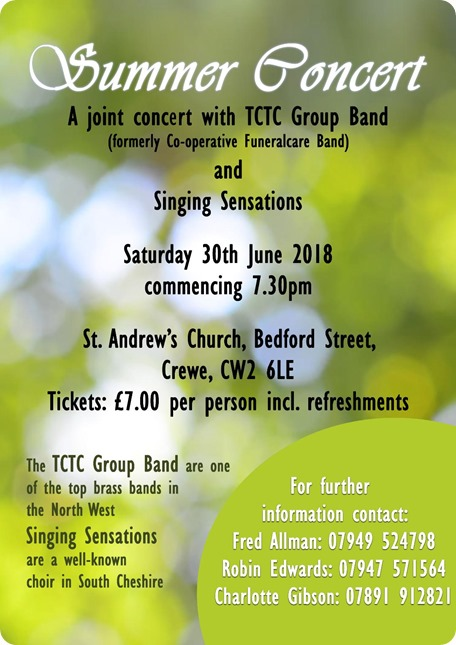 St Andrews - Summer Concert - Crewe  - Sat 30-6-18