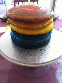 Six layers stacked on top of each other for a rainbow layer cake