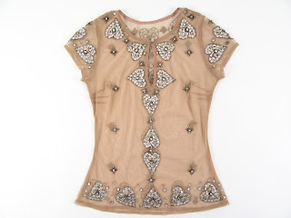 Custom Crystal Embroidered Mesh S/S Top