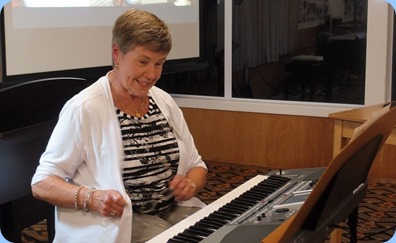 Pam Rea playing her Korg Pa900. Photo courtesy of Dennis Lyons.