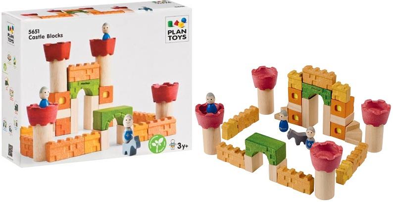 Khối gỗ xếp hình Lâu đài kỵ sĩ Plan Toys Castle Blocks bổ ích và lý thú
