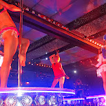 drummer girls and pole dancers in Kabukicho, Tokyo, Japan