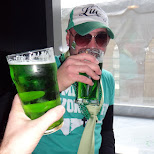 green beer cheers on saint patricks day in Toronto, Ontario, Canada