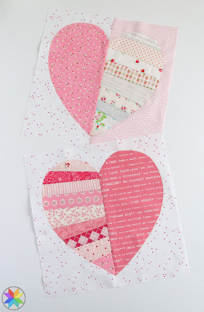 Heartstrings quilt block tutorial by A Bright Corner - great for scraps or a block swap - heart quilt block free