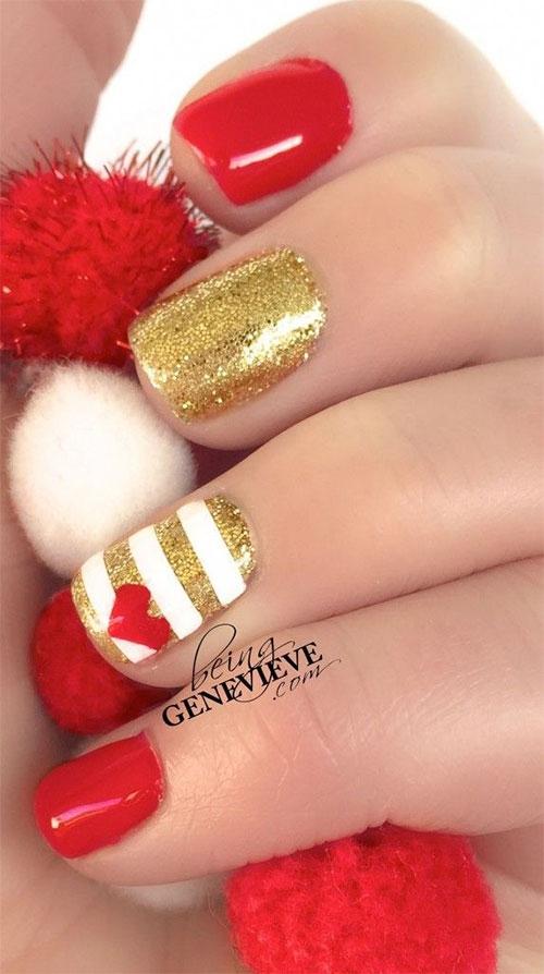 Green Red Gold Christmas Nail Art Designs Ideas Fashionte