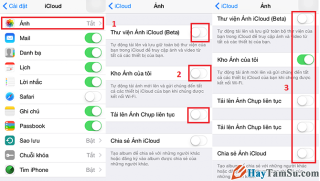 sao lưu ảnh, video từ iPhone lên iCloud